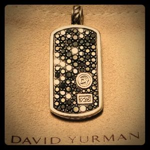 David Yurman Large Pave Black Diamond Tag Pendant